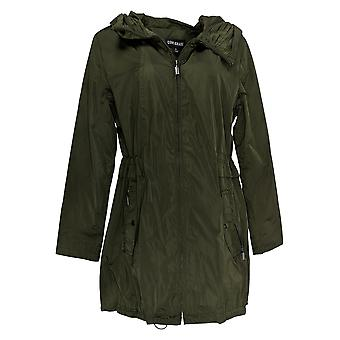 Centigrade Women's Water Resistant Jacket With Pleated Hood Green A382166