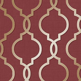 Laticia Red/Gold Wallpaper