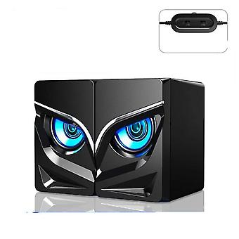 Mini Wired, Computer Speaker, Two-owls Led Light, Audio Bass Subwoofer, Home