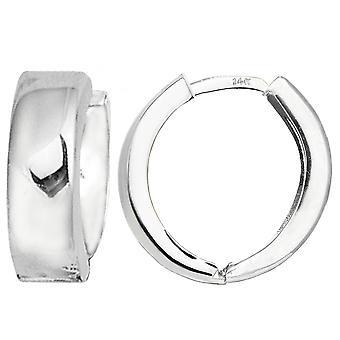14 k белое золото Snuggable обнимающие мочку уха серьги, диаметр 15 мм