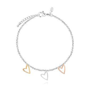 """ג'ומה תכשיטים פירנצה לב צמיד כסף ורד זהב וזהב 19 ס""""מ צמיד מתכוונן 4449"""