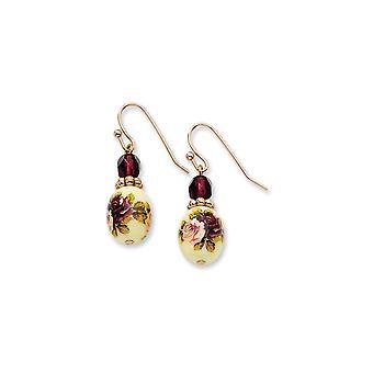 Blanco de la rosa tono oscuro púrpura cristal floral calcomanía larga gota colgante pendientes joyería regalos para las mujeres