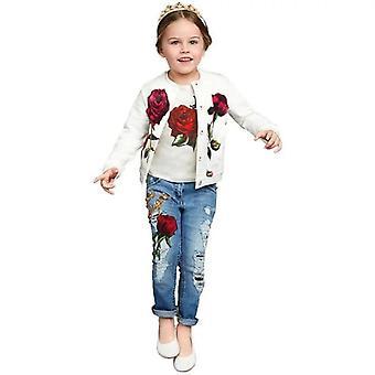 Filles Rose Veste Haut et Jeans Tenue
