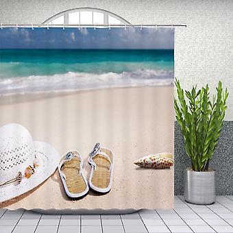 Sea Beach Scenery badeforhæng, Udskrivning Badeværelse Vandtæt Polyester Cloth