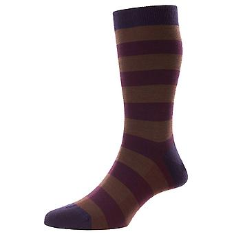 Pantherella Bexley Birdseye Stripe Merino Wool Socks - Blackberry Purple