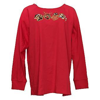 Quacker Factory Women's Top Plus Mixed Media Applique Knit Red A386965