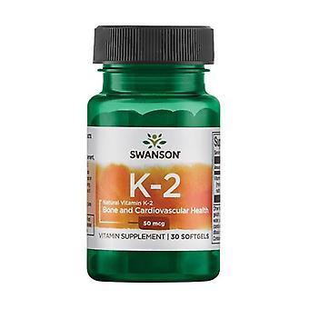 Vitamin K-2- Natural, 50mcg 30 softgels