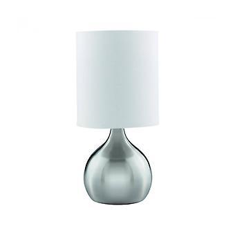Lámpara De Mesa Touch Lampen 29 Cm, En Plata Satinada, Pantalla Blanca
