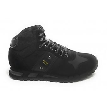 Men's Shoes Blauer Sneaker High Mod. Black Leather and Fabric Mustang U21bu07