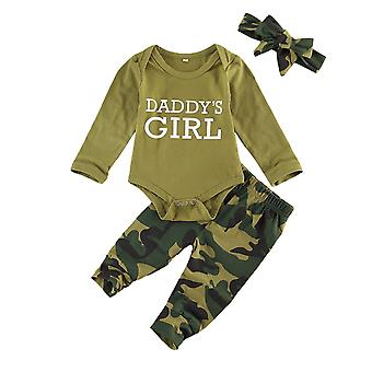 Baby Suit Clothes Army Green Long Sleeve Romper Top + Camouflage Pants