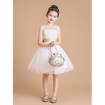 Roztomilná dievča čipka šaty Mesh Tutu krst šaty veľkosť 9-10T