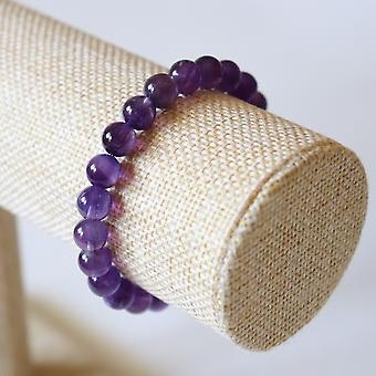 Bracelet En Améthyste – Perles 8mm