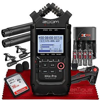 Zoom h4npro quatre canaux enregistreur audio pratique – 2x lavalier interview microphone pack w / 16 Go carte et trépied avec kit de puissance ps70407