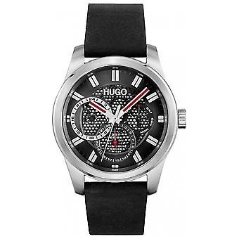 HUGO 1530189 Skeleton Black & Gunmetal Grey Leather Men's Watch