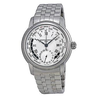 Frederique Constant Classics Worldtimer Silver Dial Stainless Steel Men's Watch FC-718MC4H6B