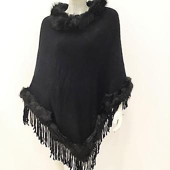 Black 'kesha' Faux Fur Fringe Poncho