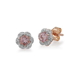 Gemondo 9ct Rose kultaa 0,31 ct Morganite & Diamond kukka korvakorut