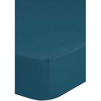 stretched bedcloth 160 x 200 cotton/satin petrol blue