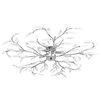 vidaXL plafonnier avec feuilles en verre acrylique pour 5 x lampes E14 blanc
