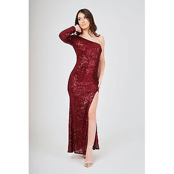 Long one sleeve one shoulder side split sequin maxi dress