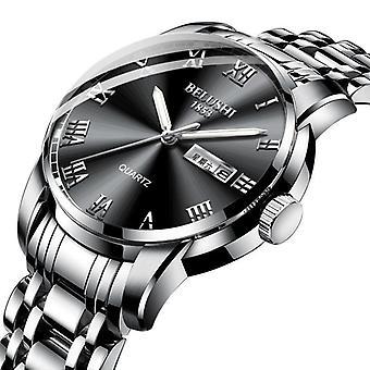 Top Brand Men Stainless Steel Business Date Clock Waterproof Luminous Watch