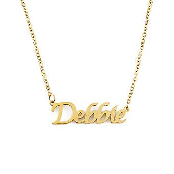 """L Debbie - 18-carat Gold Plated Necklace, with Customizable Name, Adjustable Chain of 16""""- 19"""", in Regal Packaging"""