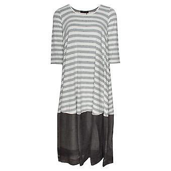 Latte Mid Sleeve Lightweight Striped Dress