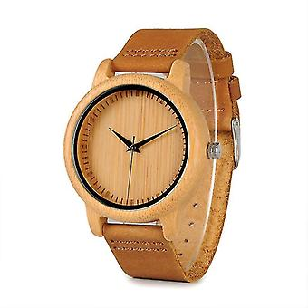 Casual BOBO BIRD WA09A10 Wooden Watch Genuine Leather Strap Natural Quartz Watch