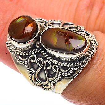 Large Mexican Fire Agate Ring Size 7 (925 Sterling Silver)  - Handmade Boho Vintage Jewelry RING66812