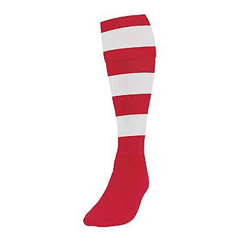 Precision Hooped Football Socks Boys Red/White