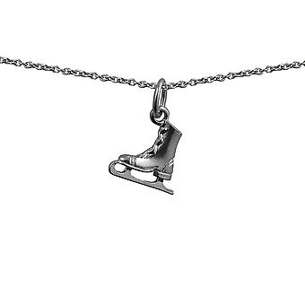 Silver 11x12mm Ice Skate Pendant with a rolo Chain 24 inches