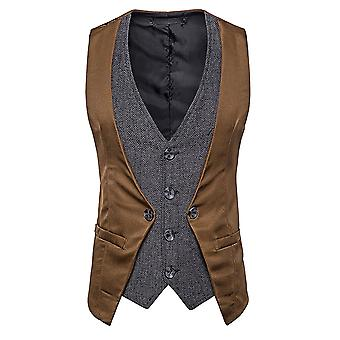 Mile Men's Single-breasted Stitching Fake două piese Casual Vest