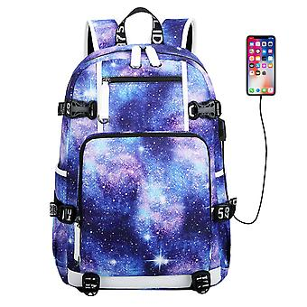 Galaxy Pattern Backpack With Usb Port For College Student