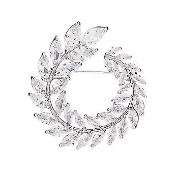 Zarte Mädchen Brosche Olive Ring Corsage Zirkon eingelegt Brosche Pin