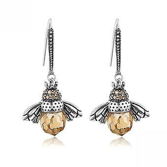 Pendientes abeja S925 plata esterlina Zircon cristal oreja stubs para regalo de cumpleaños