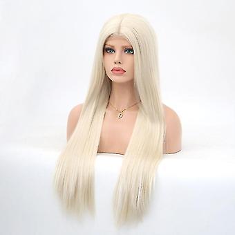 Front blonder lang lige paryk til kvinder (hvid)