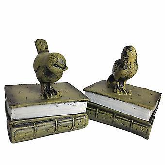 Vintage harts fågel bookend för hyllor bokhållare Monter Magasin Arrangör Dekoration Hem