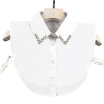 Double Line Pearl Diamond Fake Golier Odnímateľná blúzka Elegantné polovičné košele