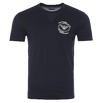 Emporio Armani Round Eagle Logo T-Shirt - Navy