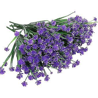Artificial Flowers,8 Bundles Outdoor Uv Resistant Faux Plants(Purple)