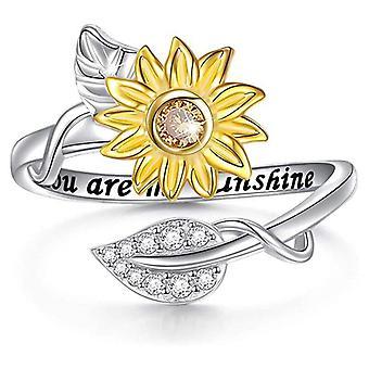 (j1/2) Silver You Are My Sunshine Zonnebloem Kristallen Ring