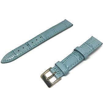 (24mm) Crocodile Grain Horlogeband Blauw Super Croc Grain met Nubuck Leer