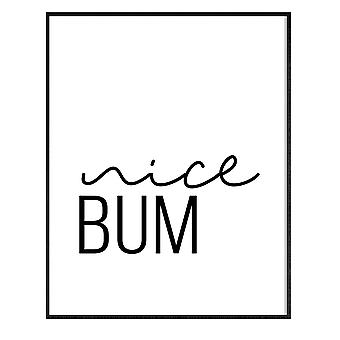 GNG FRAMED Funny Bathroom Wall Art Quotes Posters Decor Inspirational - A3 - NICE BUM
