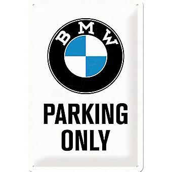 BMW parkering endast vintage design stor tenn skylt