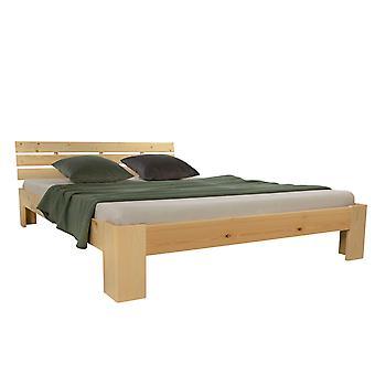 Bettgestell - Plattform - Betten - Modernes natürliches Kiefernholz 204 cm x 184 cm x 30 cm