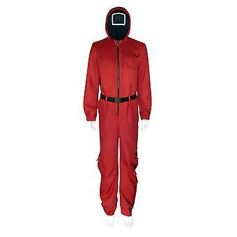 Squid Game Cos Disfraz + Máscara + Cinturón Rojo Estilo Adulto S-xxxl