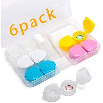 6 חבילת היפוך עדשות מגע מארז מחזיק מיכל תיבת אחסון נייד עדשת מגע ערכות נסיעות