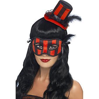 Halloween zestaw oko maski groteska kapelusz czarny czerwony 2-częściowy