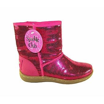 Girls pink sequin pull up ankle boots