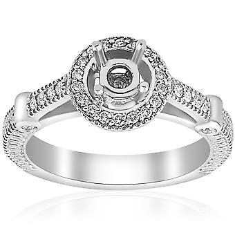 Diamond inel de logodna setarea semi Mount ring 14K White Gold